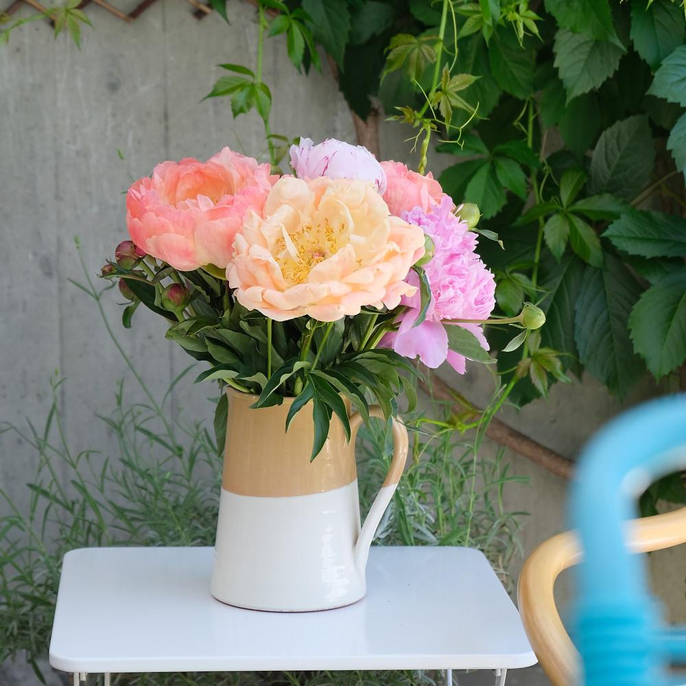 Blumenstrauss, Pfingstrosen, Blumenpost