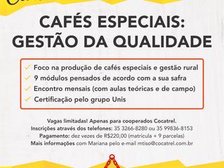 """Estão abertas as inscrições para o Curso de Extensão """"Cafés Especiais: gestão da qualidade"""""""