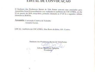 Sindicato dos Produtores Rurais convoca para Assembleia Geral Extraordinária