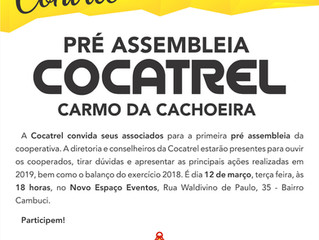 Cocatrel realizará pré assembleia em Carmo da Cachoeira