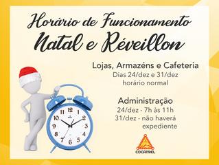 Horário de Funcionamento da Cocatrel - Natal e Réveillon