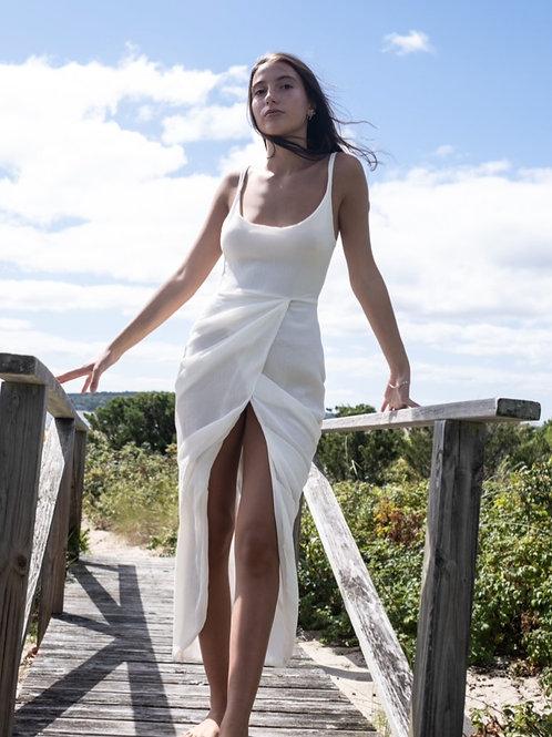Ivory Draped Gauz Midi Dress