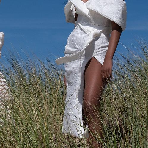 White Silk Brocade High Slit Skirt
