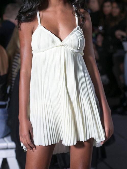 Ivory Pleated Slip Dress