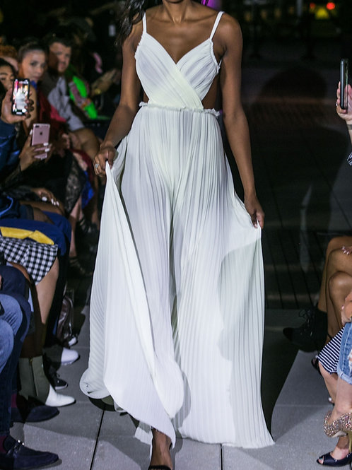 Ivory Pleated Gown
