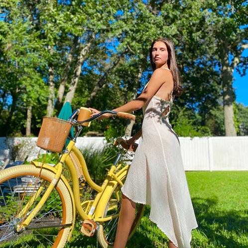 Ivory Gauze Asymmetrical Peek a Boo A Midi Dress