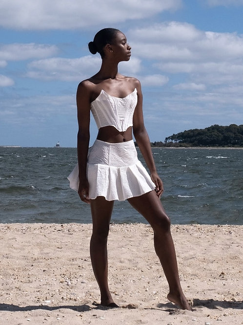 White Silk Brocade Pleated Mini Skirt