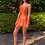 Thumbnail: Tangerine Silk Asymmetrical Mini Dress
