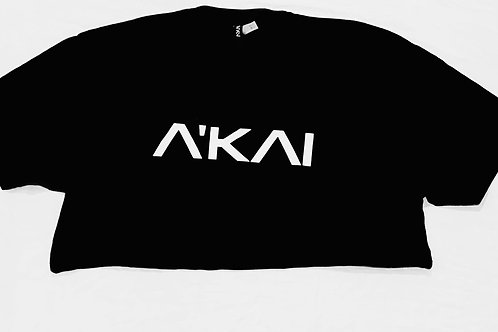 The A'KAI Black Crop Logo T