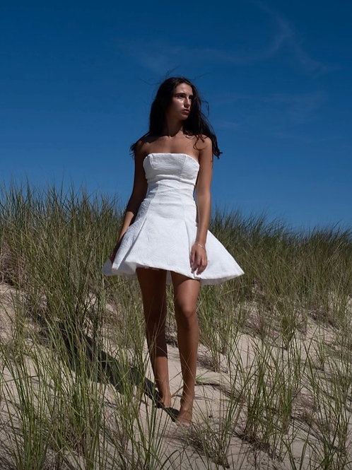 White Silk Brocade Dress