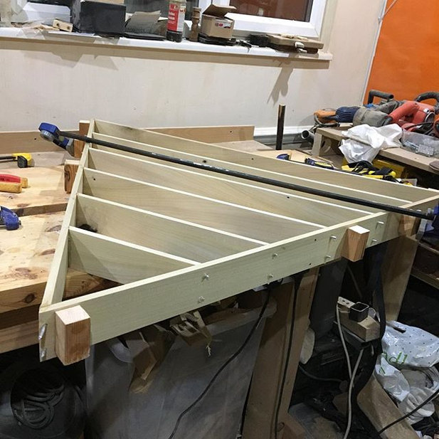 Just finished the glue up of the shelves