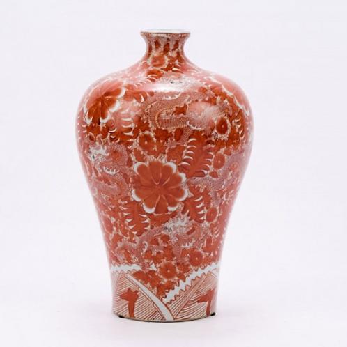 Exotic Orange Dragon Vase