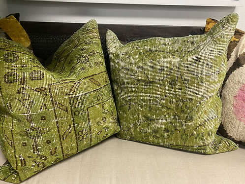 Dyed Vintage Rug Pillows in Green