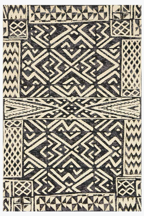 Tribal Outdoor Rug in Ivory/Black