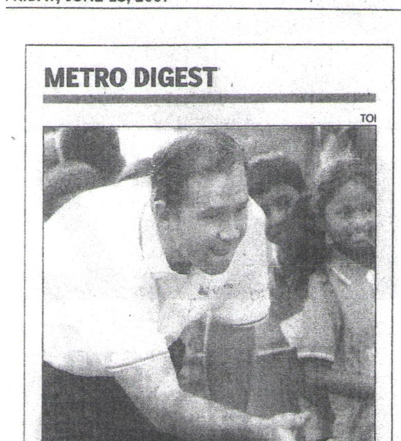 Times of India, 15th June, 2007