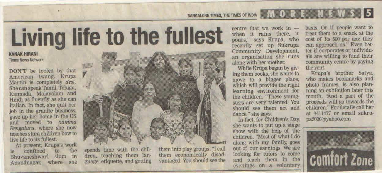 Times of India, 25th October, 2002