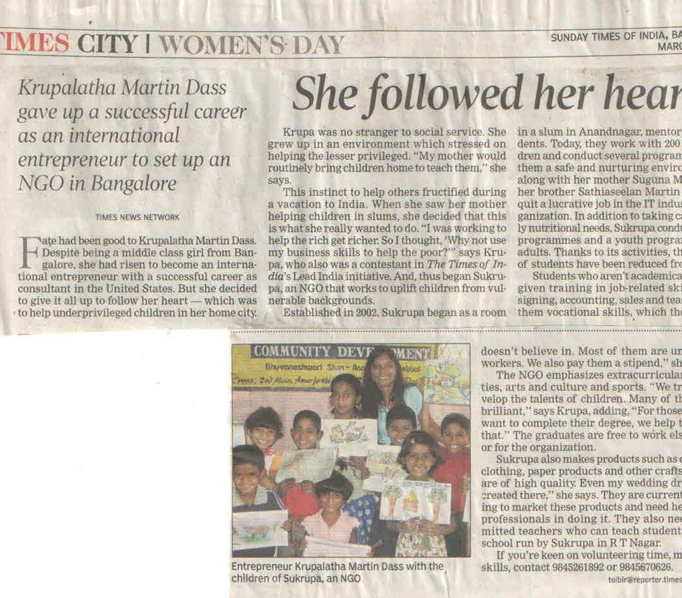 Times of India, 9th March, 2008