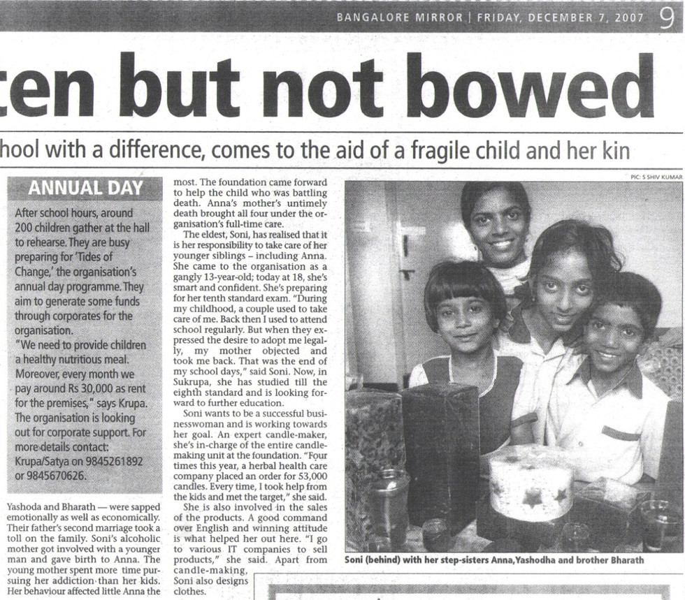 Bangalore Mirror, 7th December, 2007