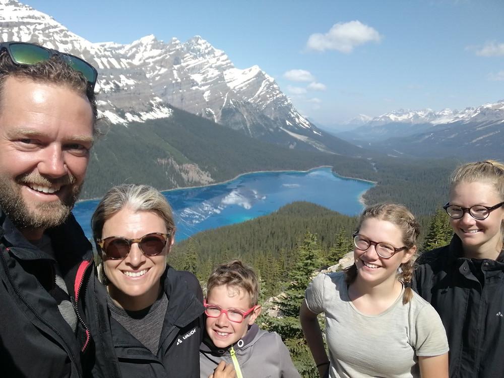 Tour du monde à vélo en famille : lac Peyto