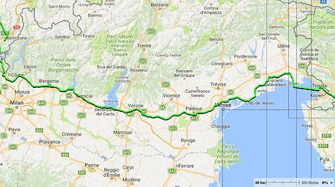 Tour du monde à vélo en famille - Trajet Italie
