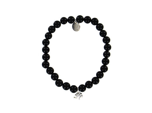 Onyx elasticated gemstone bracelet with sterling silver elephant charm