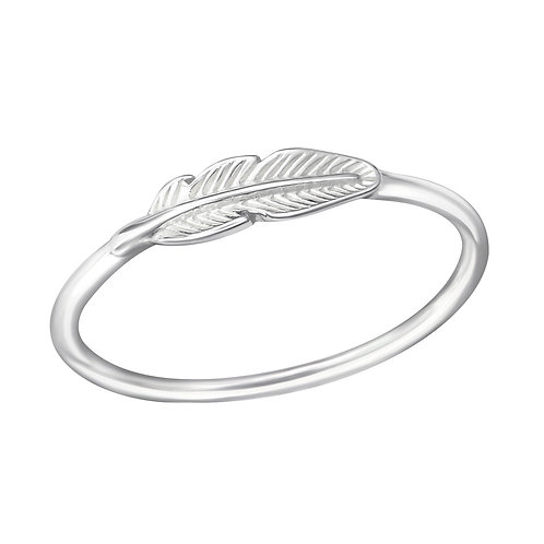 Delicate sterling silver feather ring