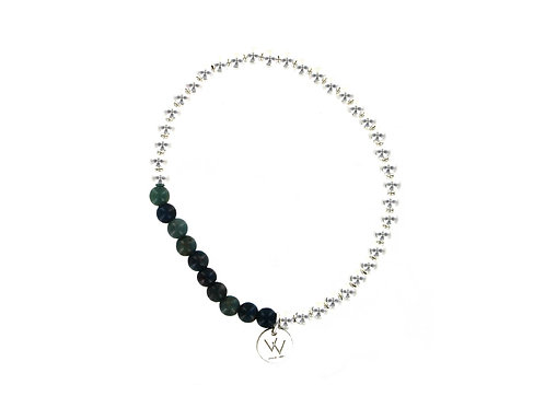 Sterling silver and Blue Apatite 4mm elasticated beaded bracelet