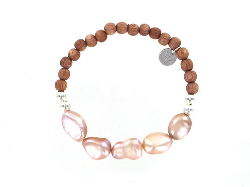 Rosewood wooden beaded bracelet with Sterling silver beads and fresh water pearl