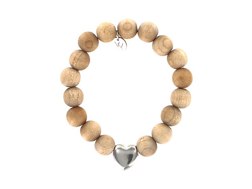 Natural wooden bead bracelet with sterling silver heart bead