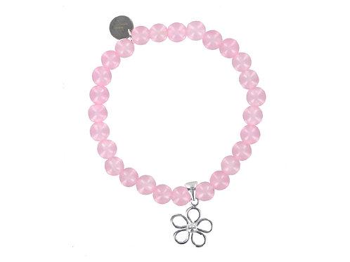 Rose quartz bracelet with sterling flower charm