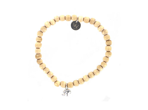 Wooden bracelet with tiny sterling silver elephant charm