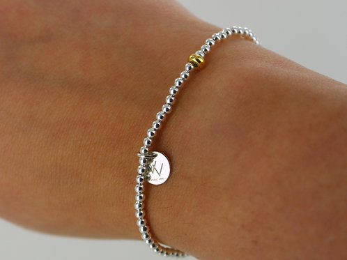 2.5mm sterling silver beaded elasticated bracelet