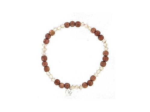Rosewood and genuine Swarovski beaded elasticated bracelet.