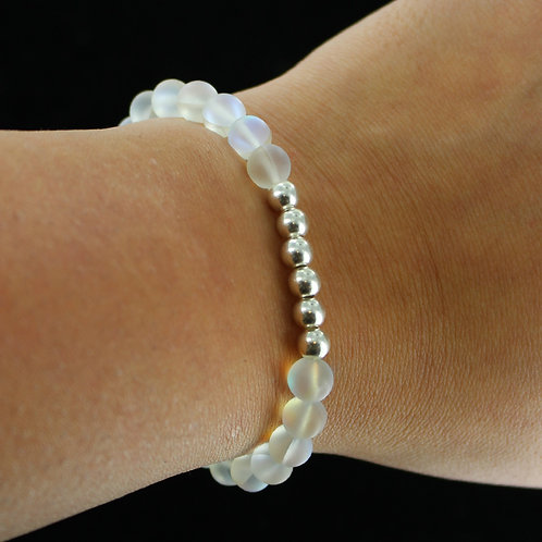 Clear Grey Australian frosted crystal bracelet with sterling silver beads