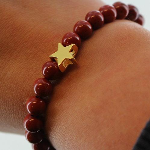 Red jasper elasticated gemstone bracelet