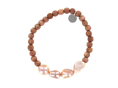 Rosewood wooden bead and fresh water pearl bracelet