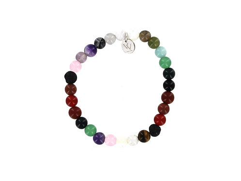 Rainbow chakra elasticated gemstone bracelet
