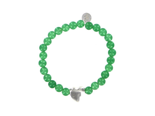 Green aventurine elasticated gemstone bracelet with sterling silver heart bead