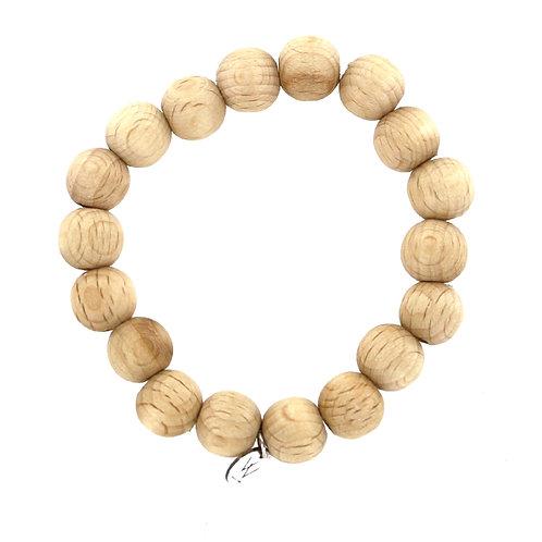 Natural wooden elasticated beaded bracelet