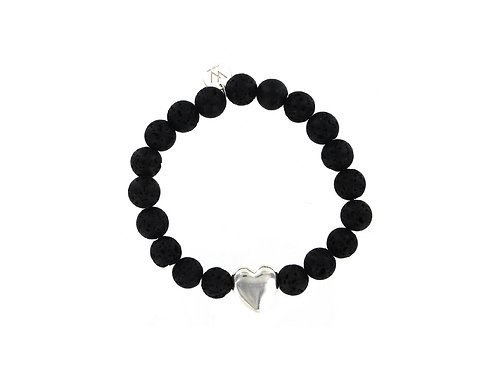 Lava stone and sterling silver heart bead elasticated gemstone bracelet