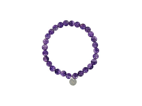 Amethyst elasticated gemstone bracelet