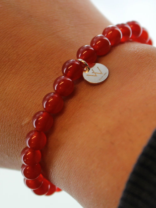Carnelian elasticated gemstone bracelet