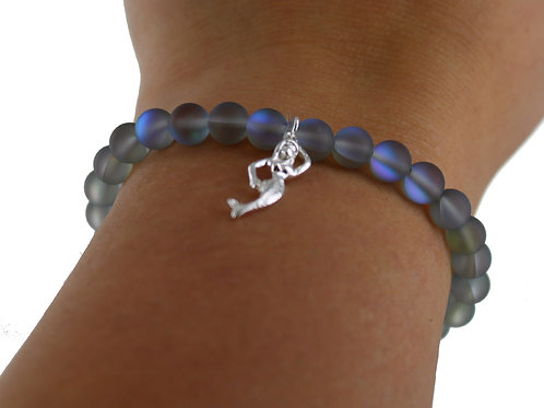 Grey multi tone Australian frosted crystal Glass bracelet with mermaid charm