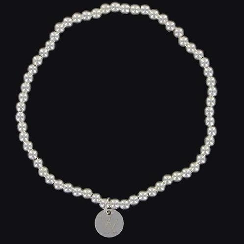 3mm sterling silver beaded bracelet elasticated