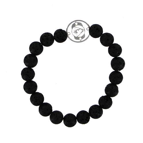 8mm Lava stone bracelet with Sterling silver Mandala Chakra Discs