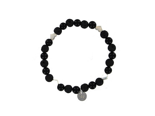Onyx and Lava Stone gemstone bracelet with sterling silver heart beads