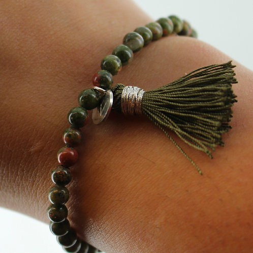 Semi precious Unakite Jasper bracelet