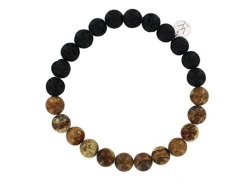 Men's Jasper and lava stone beaded elasticated bracelet