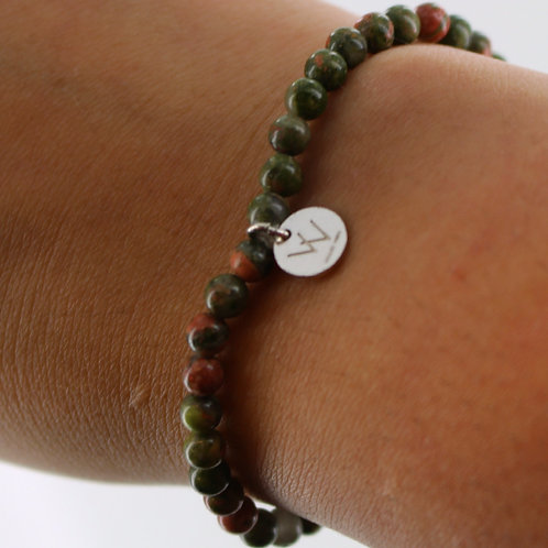 Unakite Jasper semi precious bracelet