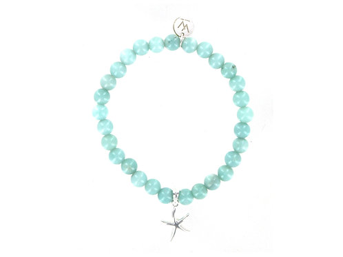 Amazonite gemstone bracelet with sterling silver starfish charm